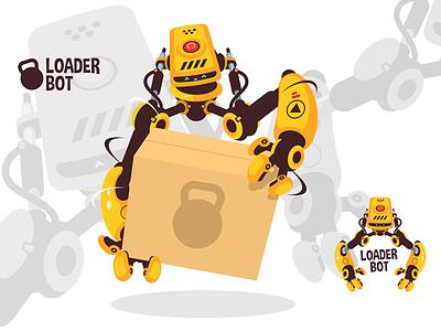 Modern robot loader kit8 flat vector illustration character box cardboard loading bot loader robot