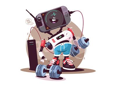 Robot doing sports kit8 flat vector illustration character sport instructor fitness robot