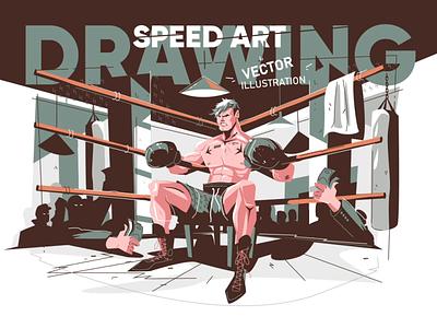 Drawing Boxer character - Speed Art vector illustration man sport ringside speed art timelapse process video character boxing boxer vector flat illustration kit8