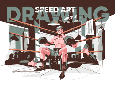 Drawing Boxer character - Speed Art vector illustration man sport ringside speed art timelapse process video character boxing boxer vector flat illustration kit8