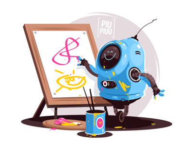Robot painting at easel kit8 flat vector illustration character easel painting