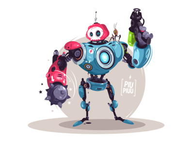 Armed robot kit8 flat vector illustration character bot futuristic weapon robot