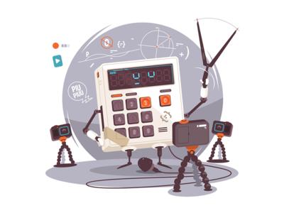 Robot-calculator explaining mathematics