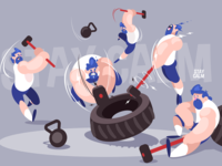 Angry dudes with sledgehammers kit8 flat vector illustration character man strong sledgehammer dude angry