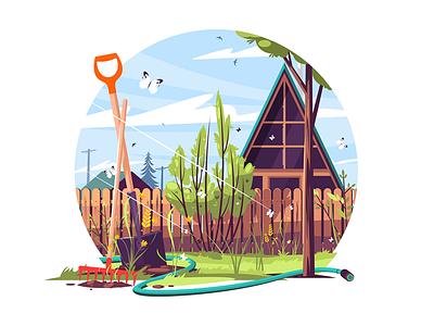 House and garden exterior kit8 flat vector illustration rake shovel bayonet exterior garden house