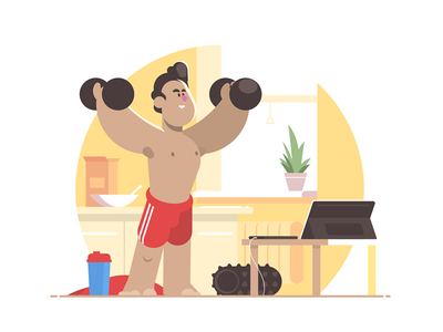 Sports workout at home kit8 flat vector illustration character man smiling home workout sports