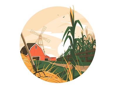 Farm in village kit8 flat vector illustration cornfield farmhouse windmill homestead village farm