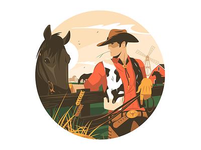 Cowboy with horse kit8 flat vector illustration character man farm countryside hoss horse cowboy