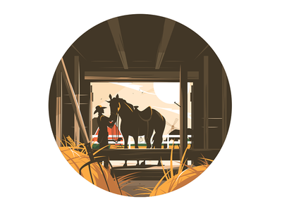 Farm stable with horse kit8 flat vector illustration character horseman cowboy horse stable farm