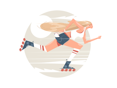 Girl roller skating kit8 flat vector illustration character sportswear woman skating roller girl