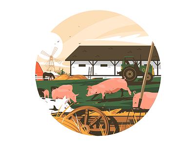 Piglets on farm kit8 flat vector illustration character village pig animal farm piglets