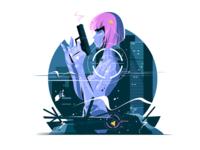 Killer woman with gun kit8 flat vector illustration character woman gun girl killer