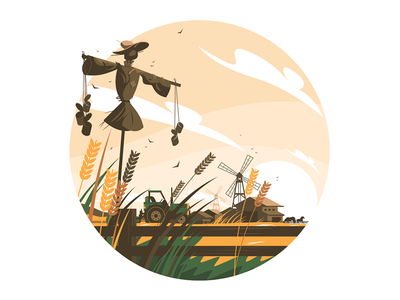 Rural nature scene kit8 flat vector illustration meadow scarecrow scene nature rural