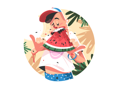 Mellow summer fruit kit8 flat vector illustration character eating boy man fruit summer watermelon