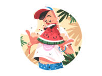 Mellow summer fruit kit8 flat vector illustration character eating boy man fruit summer watermelon