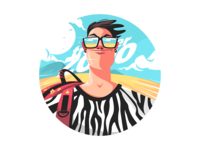 Zoo traveler in glasses kit8 flat vector illustration character print animal shirt person zoo glasses traveler man