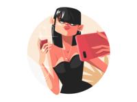Stylish girl taking selfie kit8 flat vector illustration character selfie wine woman smartphone girl stylish