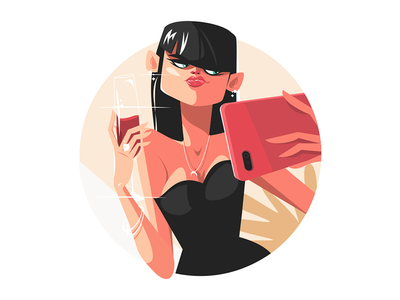 Stylish girl taking selfie kit8 flat vector illustration character selfie wine woman smartphone girl stylish
