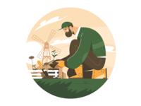 Male gardener plant kit8 flat vector illustration character agriculture farm raising plant gardener male