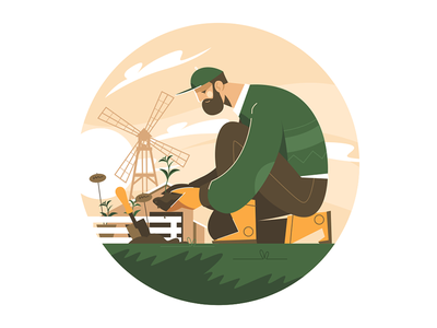 Male gardener plant kit8 flat vector illustration character agriculture farm raising plant gardener male