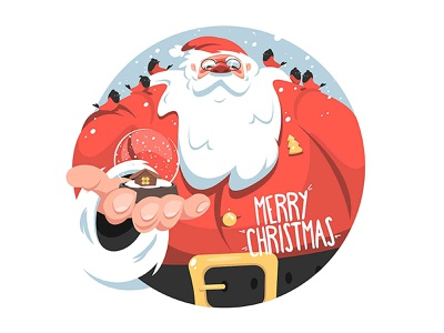 Santa Claus snowball gift and birds holiday kit8 vector flat santa claus winter bird merry ball snow illustration character xmas christmas new year santa