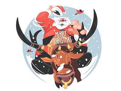 Santa riding on deer illustration man ride winter animal dear santa claus santa holiday xmas christmas new year character vector illustration kit8