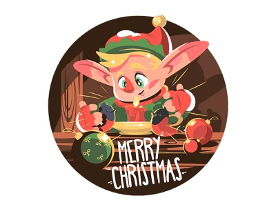 Santas little helper elf bird tree decoration ball xmas new year christmas boy elf character flat vector illustration kit8