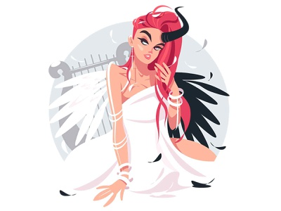 Beautiful fallen angel girl devil horn harp wings angel love people character flat vector illustration kit8 woman girl