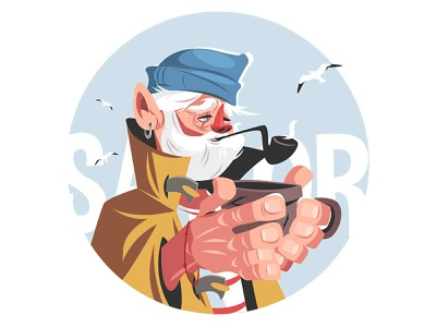 Fisherman with hot drink seagull smoking pipe character vector illustration kit8 old fisher man salor man