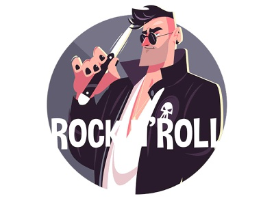 Man and rock and roll glasses rubber criminal rock knife scull guy man character flat vector illustration kit8