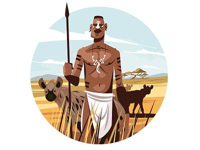 Native citizen in wild nature wild africa outdoor hyena black citizen native nature man character flat vector illustration kit8