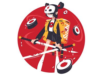 Samurai girl with katana knife fight facemask blood samurai weapon katana delivery suchi girl woman character flat vector illustration kit8
