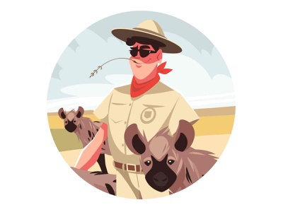 Happy safari visitor man sunnyday nature animals hyena africa safari guy man character flat vector illustration kit8