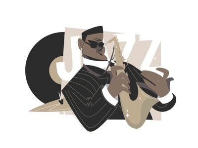 Jazz saxophone man player people guy costume music player vinyl saxophone music band jazz flat kit8 illustration vector character man