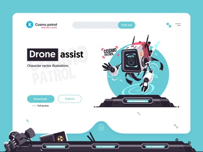 Drone assist illustration flight aircraft help police assist robots robot character flat vector illustration kit8
