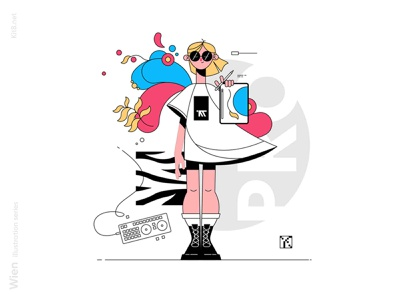 Girl holding graphic tablet with painting flowers glasses illustrator designer tablet drawing woman girl line art stroke line character flat vector illustration kit8