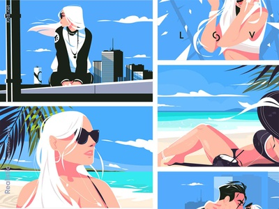 Realistic - illustration series sunglasses kiss love building roof beach reslistic people sport woman girl man character flat vector illustration kit8
