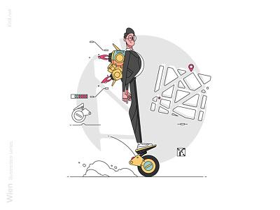 Man riding on hoverboard illustration scooter self-balancing light drive board hover pack jet worker office man character line vector flat illustration kit8