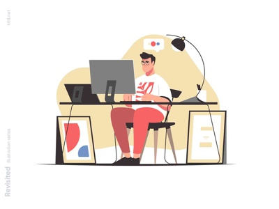 Man working on computer illustration stool paintings home lamp business tablet table computer office work man character flat vector illustration kit8