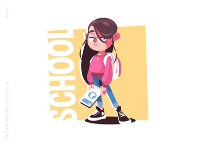Nerd girl with gadget illustration teenagers backpack school tablet phone people girl character flat vector illustration kit8