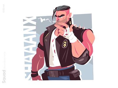 Smoking guy illustration mercenary agressive strong cigarette blood fighter squad warrior man character vector illustration kit8