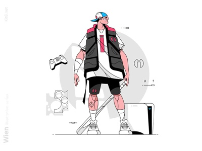 Well dressed dude with bat illustration stroke line style gamers console guy gamer man character vector flat illustration kit8