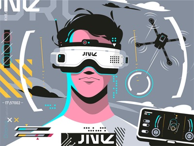 Drones pilot in glasses fly pilot quadrocopter drone man character flat vector illustration kit8