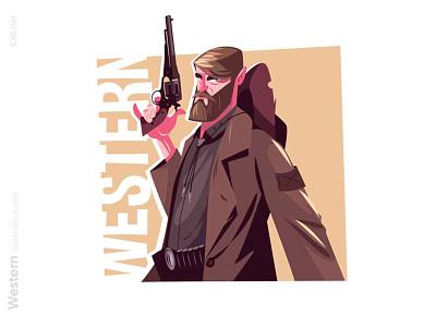 Cowboy man with gun illustration bandit sheriff western wild west pistol gun man character flat vector illustration kit8