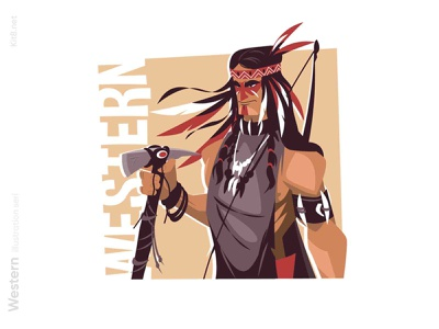 Native American with axe illustration native american man character flat vector illustration kit8