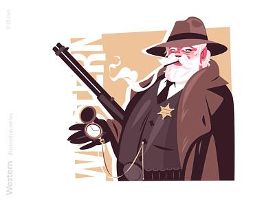 Sheriff character illustration wildwest man character vector flat illustration kit8