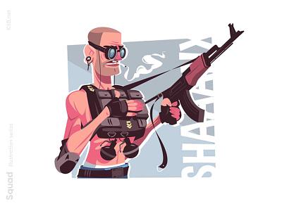 Guy thug with weapon illustration kalashnikov man character flat vector illustration kit8