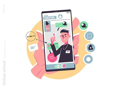 Video tutorial on mobile illustration learnonline man character flat vector illustration kit8