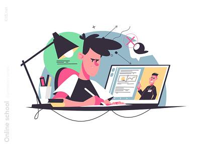 Student writes homework illustration guy onlinecources man character flat vector illustration kit8
