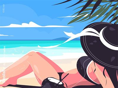Woman laying on beach illustration beachvocation sea ocean girl character flat vector illustration kit8